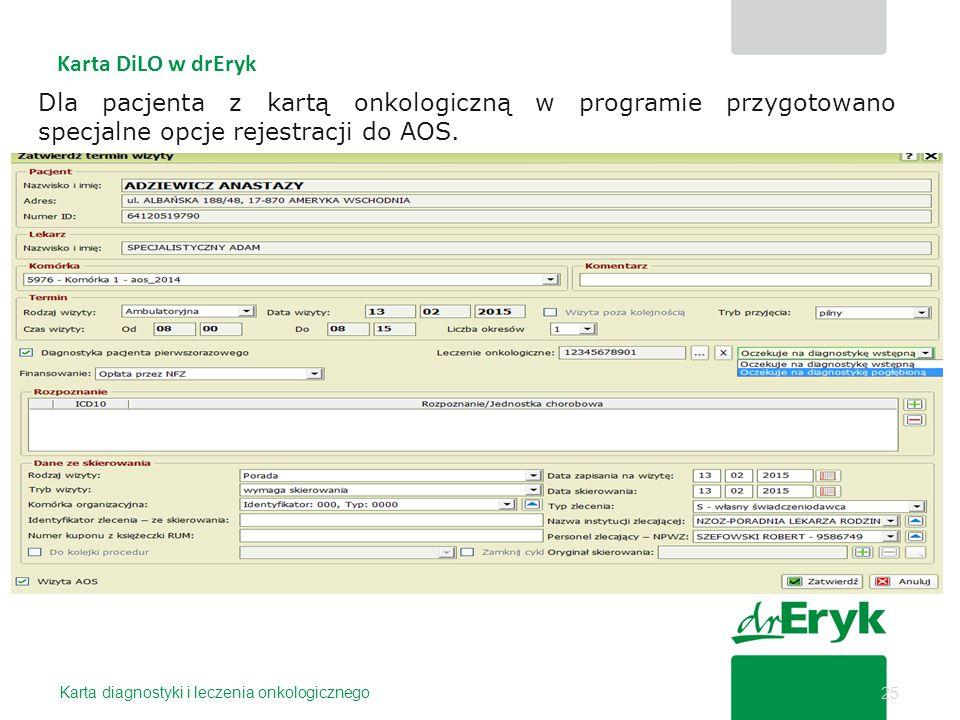 25 Karta diagnostyki i leczenia onkologicznego Karta DiLO w drEryk Dla pacjenta z kartą onkologiczną w programie przygotowano specjalne opcje rejestra