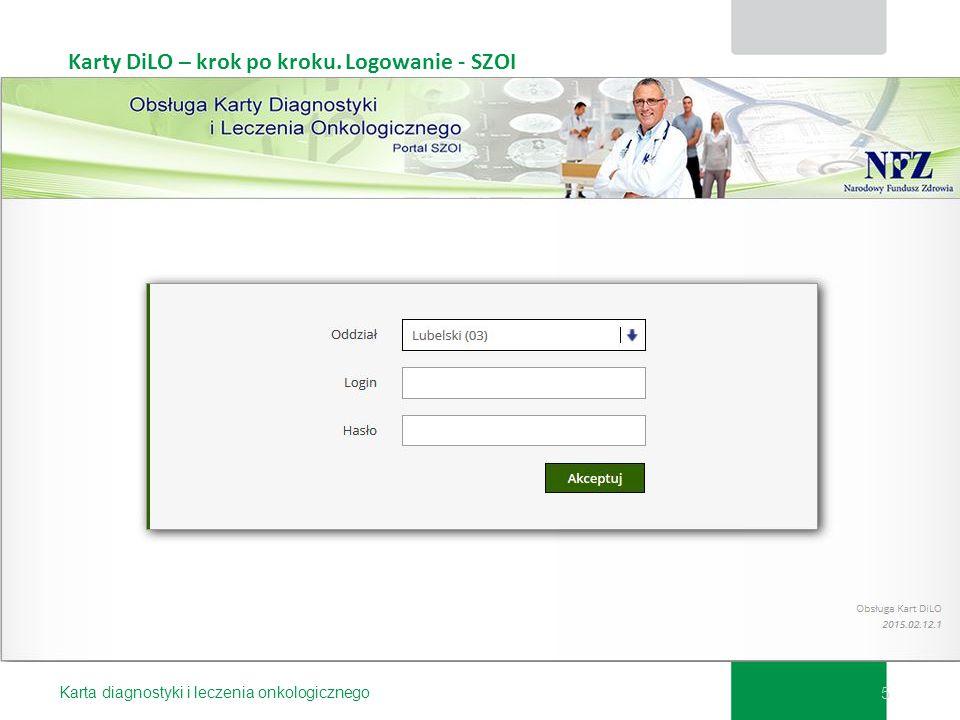 Karty DiLO – krok po kroku. Logowanie - SZOI Karta diagnostyki i leczenia onkologicznego 5