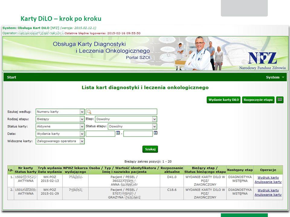 Karty DiLO – krok po kroku Karta diagnostyki i leczenia onkologicznego 6