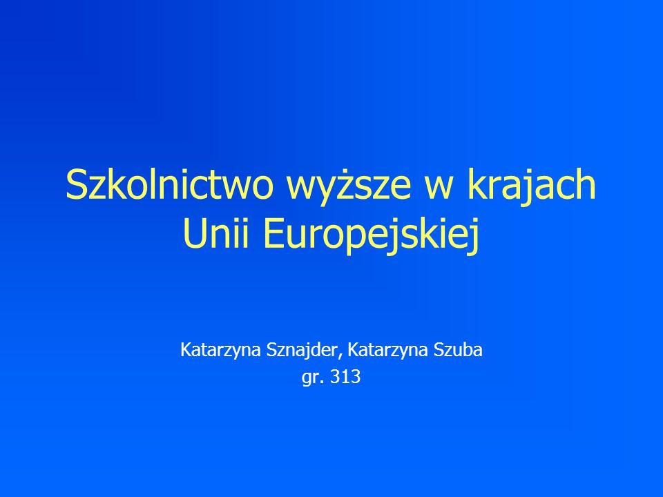 Szkolnictwo wyższe w krajach Unii Europejskiej Katarzyna Sznajder, Katarzyna Szuba gr. 313