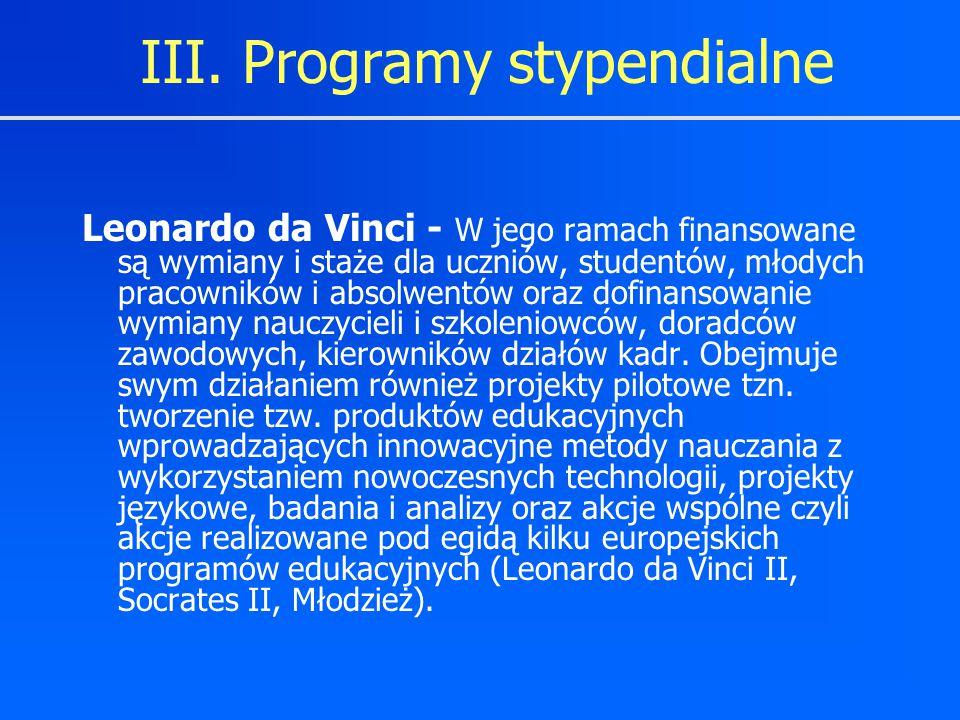 Leonardo da Vinci - W jego ramach finansowane są wymiany i staże dla uczniów, studentów, młodych pracowników i absolwentów oraz dofinansowanie wymiany