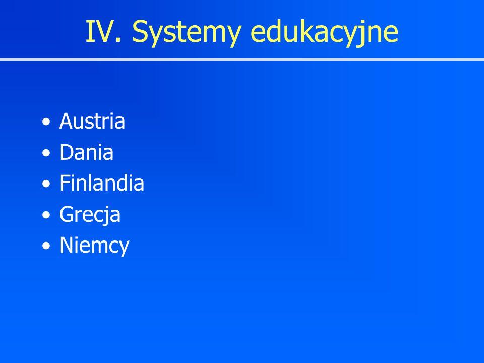 IV. Systemy edukacyjne Austria Dania Finlandia Grecja Niemcy