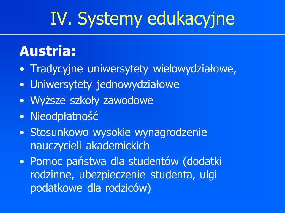 IV. Systemy edukacyjne Austria: Tradycyjne uniwersytety wielowydziałowe, Uniwersytety jednowydziałowe Wyższe szkoły zawodowe Nieodpłatność Stosunkowo