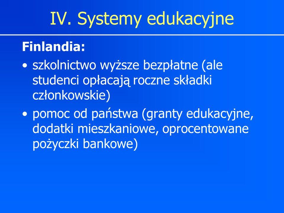 Finlandia: szkolnictwo wyższe bezpłatne (ale studenci opłacają roczne składki członkowskie) pomoc od państwa (granty edukacyjne, dodatki mieszkaniowe,
