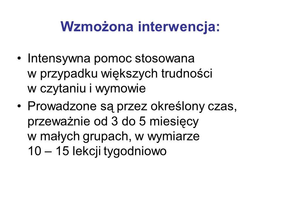 Wzmożona interwencja: Intensywna pomoc stosowana w przypadku większych trudności w czytaniu i wymowie Prowadzone są przez określony czas, przeważnie od 3 do 5 miesięcy w małych grupach, w wymiarze 10 – 15 lekcji tygodniowo