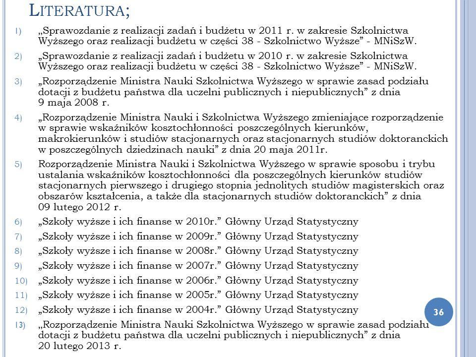 """L ITERATURA ; 1) """" Sprawozdanie z realizacji zadań i budżetu w 2011 r. w zakresie Szkolnictwa Wyższego oraz realizacji budżetu w części 38 - Szkolnict"""