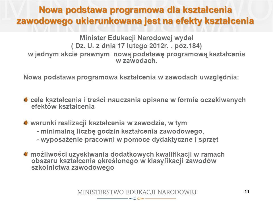 11 Nowa podstawa programowa dla kształcenia zawodowego ukierunkowana jest na efekty kształcenia Minister Edukacji Narodowej wydał ( Dz. U. z dnia 17 l