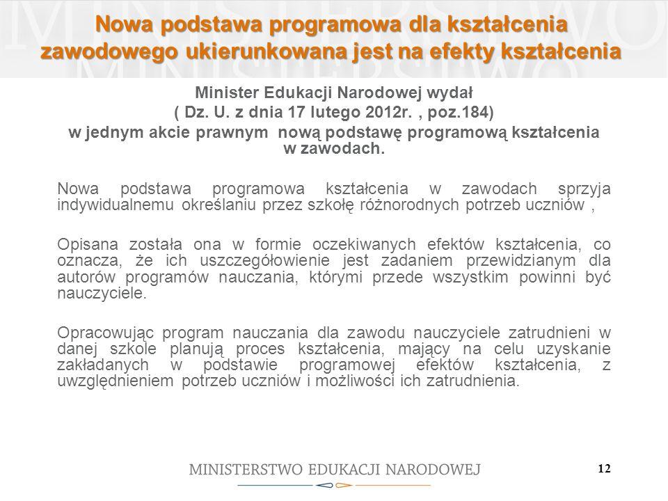 12 Nowa podstawa programowa dla kształcenia zawodowego ukierunkowana jest na efekty kształcenia Minister Edukacji Narodowej wydał ( Dz. U. z dnia 17 l