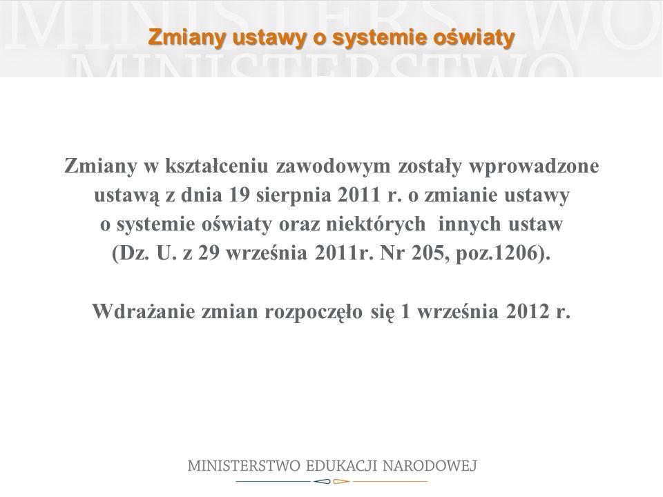 Zmiany ustawy o systemie oświaty Zmiany w kształceniu zawodowym zostały wprowadzone ustawą z dnia 19 sierpnia 2011 r.