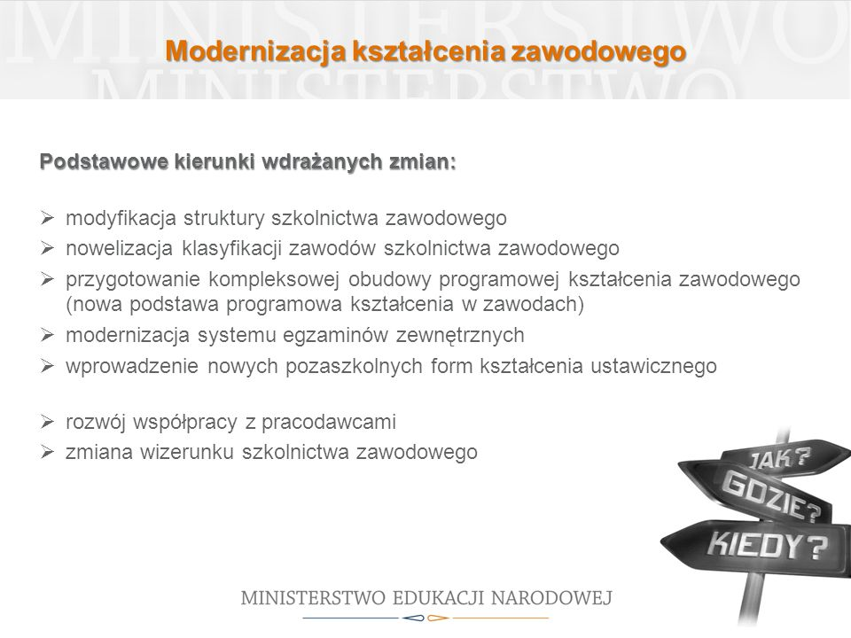 Modernizacja kształcenia zawodowego Podstawowe kierunki wdrażanych zmian:  modyfikacja struktury szkolnictwa zawodowego  nowelizacja klasyfikacji za