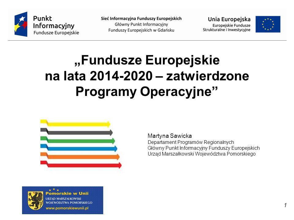 """1 """"Fundusze Europejskie na lata 2014-2020 – zatwierdzone Programy Operacyjne"""" Martyna Sawicka Departament Programów Regionalnych Główny Punkt Informac"""