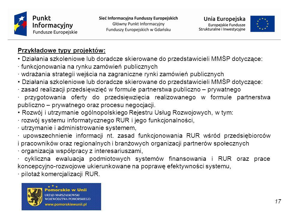 17 Przykładowe typy projektów: Działania szkoleniowe lub doradcze skierowane do przedstawicieli MMŚP dotyczące: · funkcjonowania na rynku zamówień pub