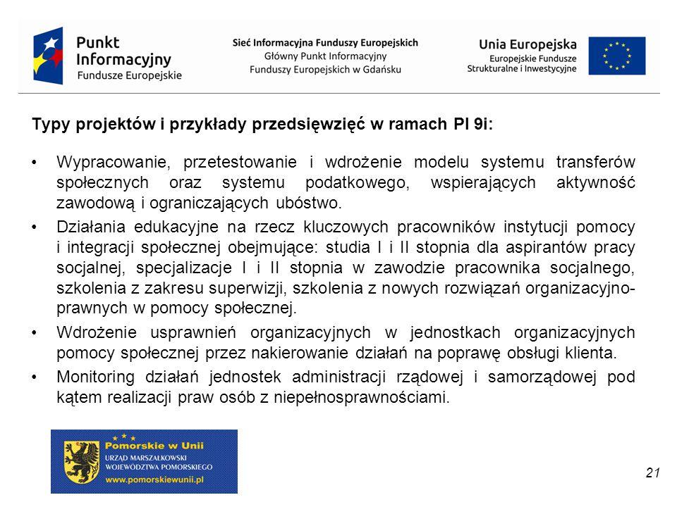 Typy projektów i przykłady przedsięwzięć w ramach PI 9i: Wypracowanie, przetestowanie i wdrożenie modelu systemu transferów społecznych oraz systemu p
