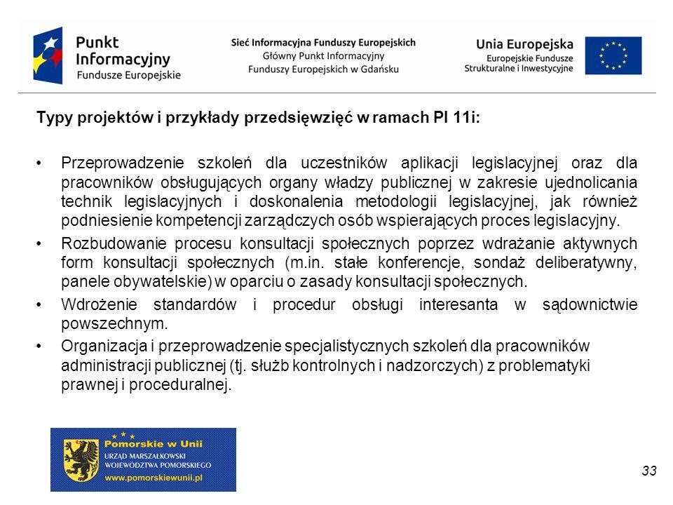 Typy projektów i przykłady przedsięwzięć w ramach PI 11i: Przeprowadzenie szkoleń dla uczestników aplikacji legislacyjnej oraz dla pracowników obsługu
