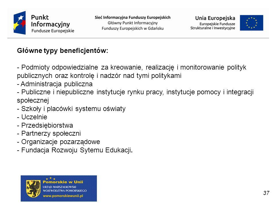37 Główne typy beneficjentów: - Podmioty odpowiedzialne za kreowanie, realizację i monitorowanie polityk publicznych oraz kontrolę i nadzór nad tymi p