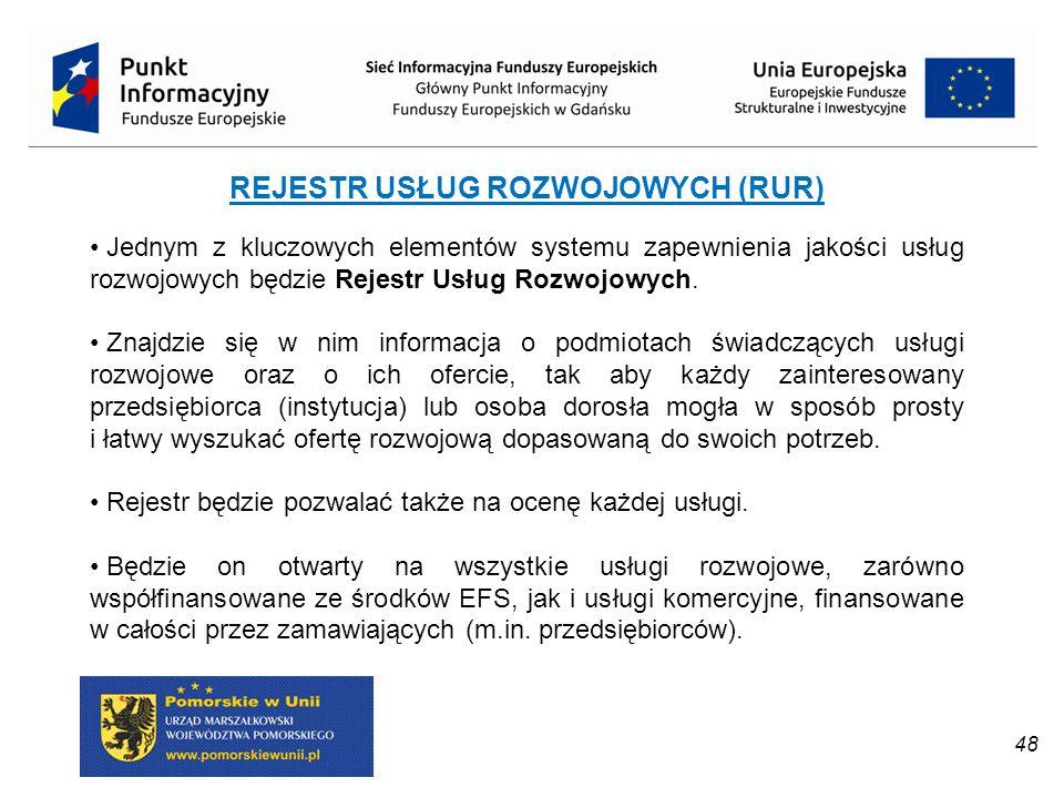 REJESTR USŁUG ROZWOJOWYCH (RUR) Jednym z kluczowych elementów systemu zapewnienia jakości usług rozwojowych będzie Rejestr Usług Rozwojowych. Znajdzie