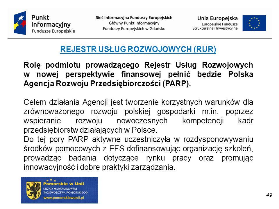 REJESTR USŁUG ROZWOJOWYCH (RUR) Rolę podmiotu prowadzącego Rejestr Usług Rozwojowych w nowej perspektywie finansowej pełnić będzie Polska Agencja Rozw