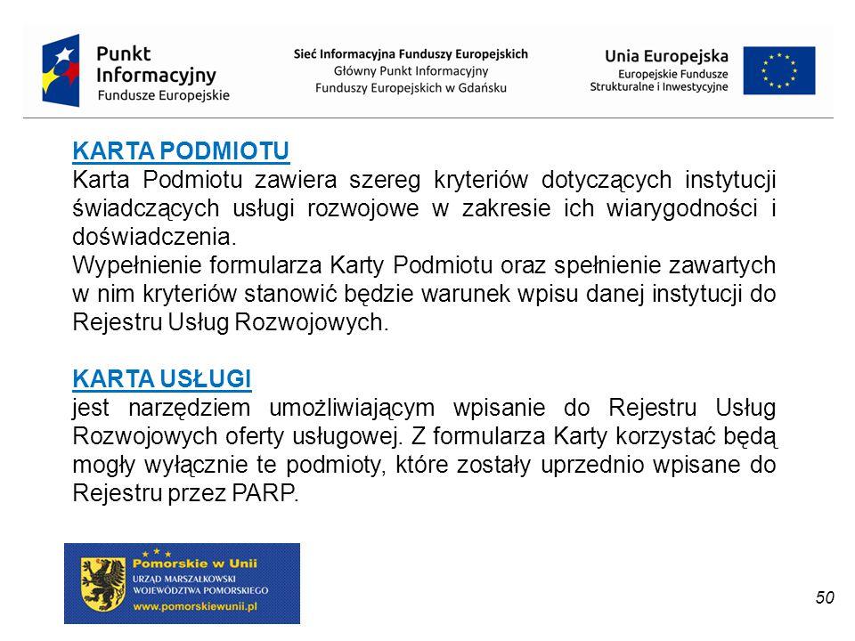 KARTA PODMIOTU Karta Podmiotu zawiera szereg kryteriów dotyczących instytucji świadczących usługi rozwojowe w zakresie ich wiarygodności i doświadczen