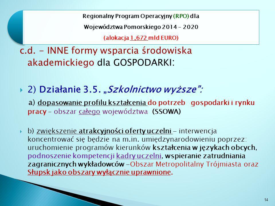 14 Regionalny Program Operacyjny (RPO) dla Województwa Pomorskiego 2014 – 2020 (alokacja 1,672 mld EURO) c.d.