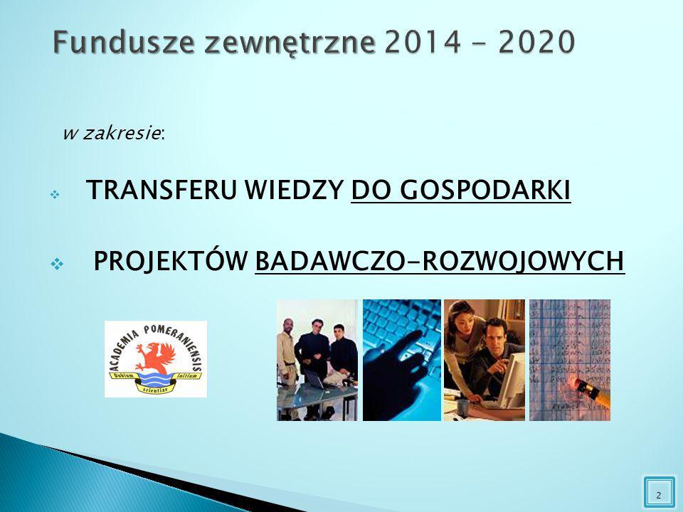 w zakresie:  TRANSFERU WIEDZY DO GOSPODARKI  PROJEKTÓW BADAWCZO-ROZWOJOWYCH 2