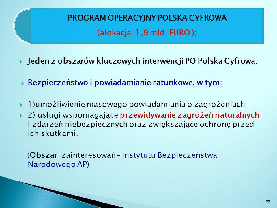  Jeden z obszarów kluczowych interwencji PO Polska Cyfrowa:  Bezpieczeństwo i powiadamianie ratunkowe, w tym:  1)umożliwienie masowego powiadamiania o zagrożeniach  2) usługi wspomagające przewidywanie zagrożeń naturalnych i zdarzeń niebezpiecznych oraz zwiększające ochronę przed ich skutkami.