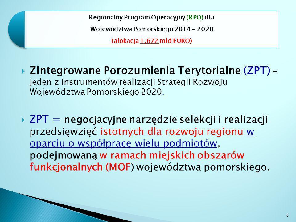 6 Regionalny Program Operacyjny (RPO) dla Województwa Pomorskiego 2014 – 2020 (alokacja 1,672 mld EURO)  Zintegrowane Porozumienia Terytorialne (ZPT) – jeden z instrumentów realizacji Strategii Rozwoju Województwa Pomorskiego 2020.