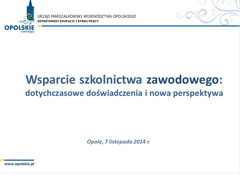 Wsparcie szkolnictwa zawodowego: dotychczasowe doświadczenia i nowa perspektywa Opole, 7 listopada 2014 r.