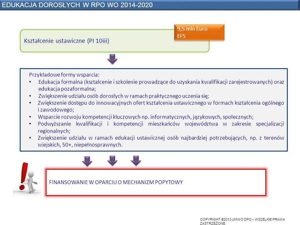 COPYRIGHT ©2013 UMWO DPO – WSZELKIE PRAWA ZASTRZEŻONE EDUKACJA DOROSŁYCH W RPO WO 2014-2020 Kształcenie ustawiczne (PI 10iii) Przykładowe formy wsparcia: Edukacja formalna (kształcenie i szkolenie prowadzące do uzyskania kwalifikacji zarejestrowanych) oraz edukacja pozaformalna; Zwiększenie udziału osób dorosłych w ramach praktycznego uczenia się; Zwiększenie dostępu do innowacyjnych ofert kształcenia ustawicznego w formach kształcenia ogólnego i zawodowego; Wsparcie rozwoju kompetencji kluczowych np.