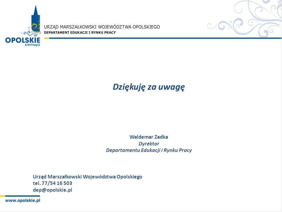Dziękuję za uwagę Waldemar Zadka Dyrektor Departamentu Edukacji i Rynku Pracy Urząd Marszałkowski Województwa Opolskiego tel.