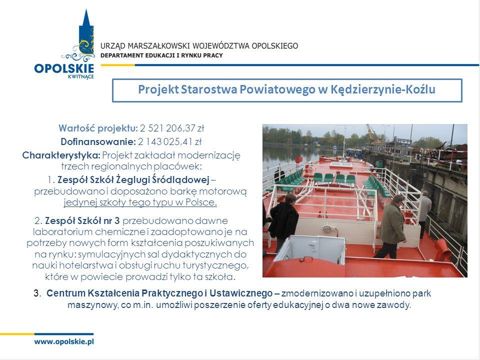 Projekt Starostwa Powiatowego w Kędzierzynie-Koźlu Wartość projektu: 2 521 206,37 zł Dofinansowanie: 2 143 025,41 zł Charakterystyka: Projekt zakładał modernizację trzech regionalnych placówek: 1.