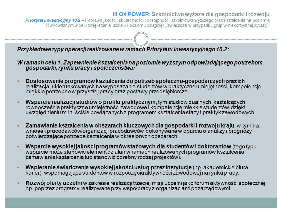 III Oś POWER Szkolnictwo wyższe dla gospodarki i rozwoju Priorytet inwestycyjny 10.2 – Poprawa jakości, skuteczności i dostępności szkolnictwa wyższeg