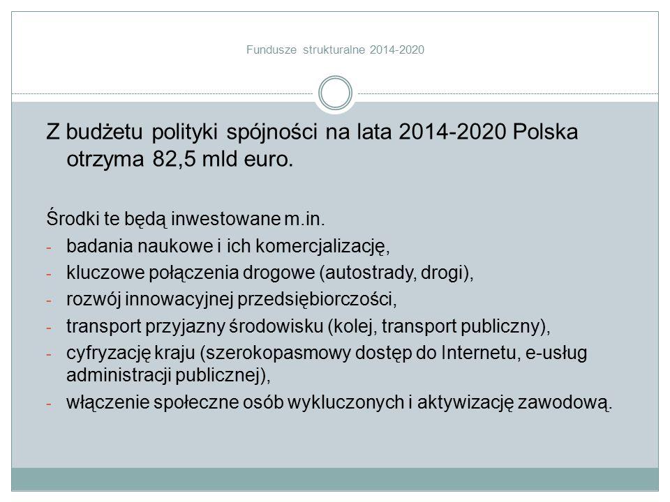Z budżetu polityki spójności na lata 2014-2020 Polska otrzyma 82,5 mld euro. Środki te będą inwestowane m.in. - badania naukowe i ich komercjalizację,