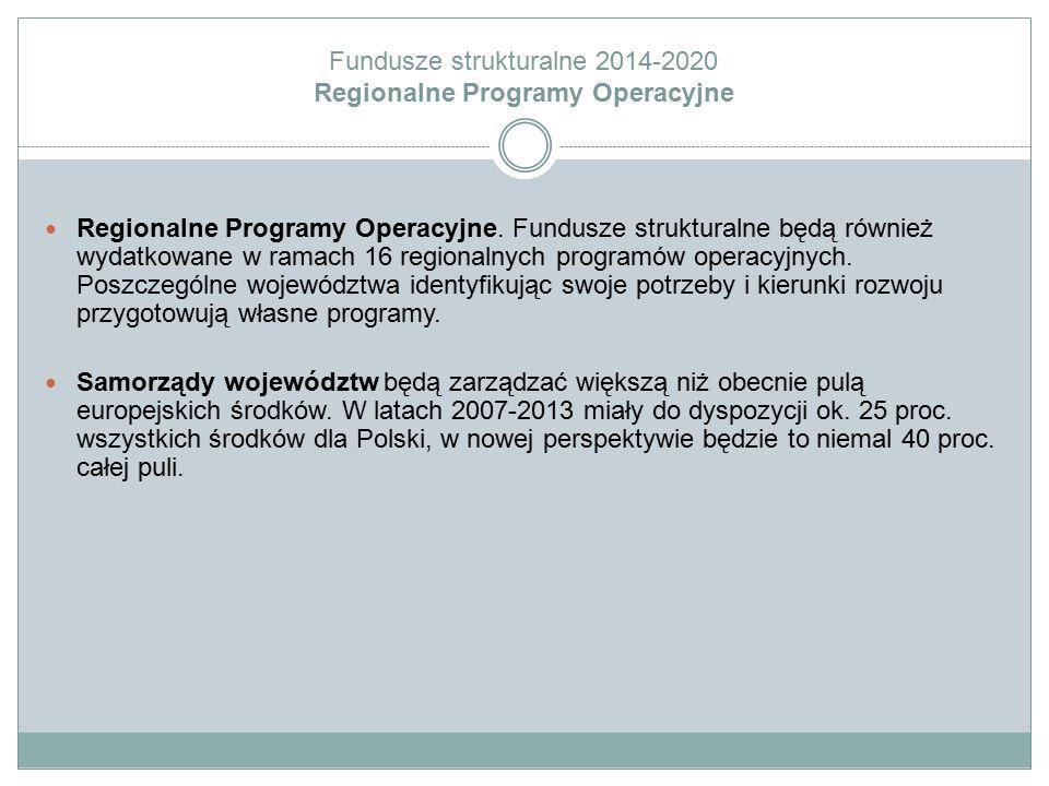Fundusze strukturalne 2014-2020 Regionalne Programy Operacyjne Regionalne Programy Operacyjne. Fundusze strukturalne będą również wydatkowane w ramach