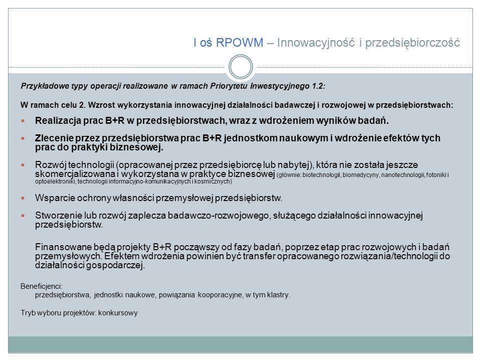 I oś RPOWM – Innowacyjność i przedsiębiorczość Przykładowe typy operacji realizowane w ramach Priorytetu Inwestycyjnego 1.2: W ramach celu 2. Wzrost w