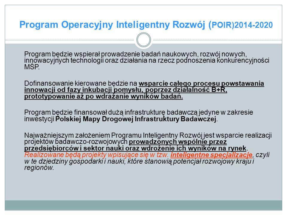 Program Operacyjny Inteligentny Rozwój ( POIR)2014-2020 Program będzie wspierał prowadzenie badań naukowych, rozwój nowych, innowacyjnych technologii