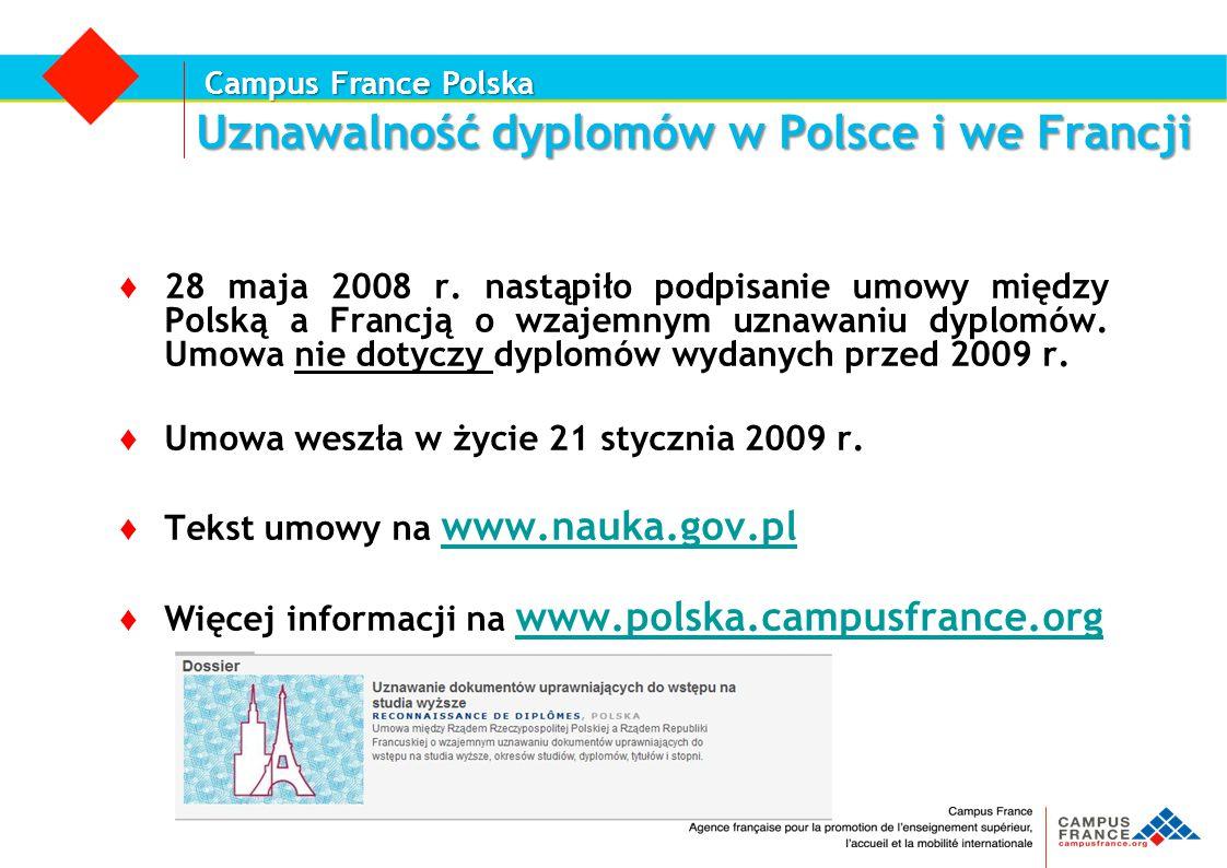 Campus France Polska Uznawalność dyplomów w Polsce i we Francji ♦ 28 maja 2008 r. nastąpiło podpisanie umowy między Polską a Francją o wzajemnym uznaw