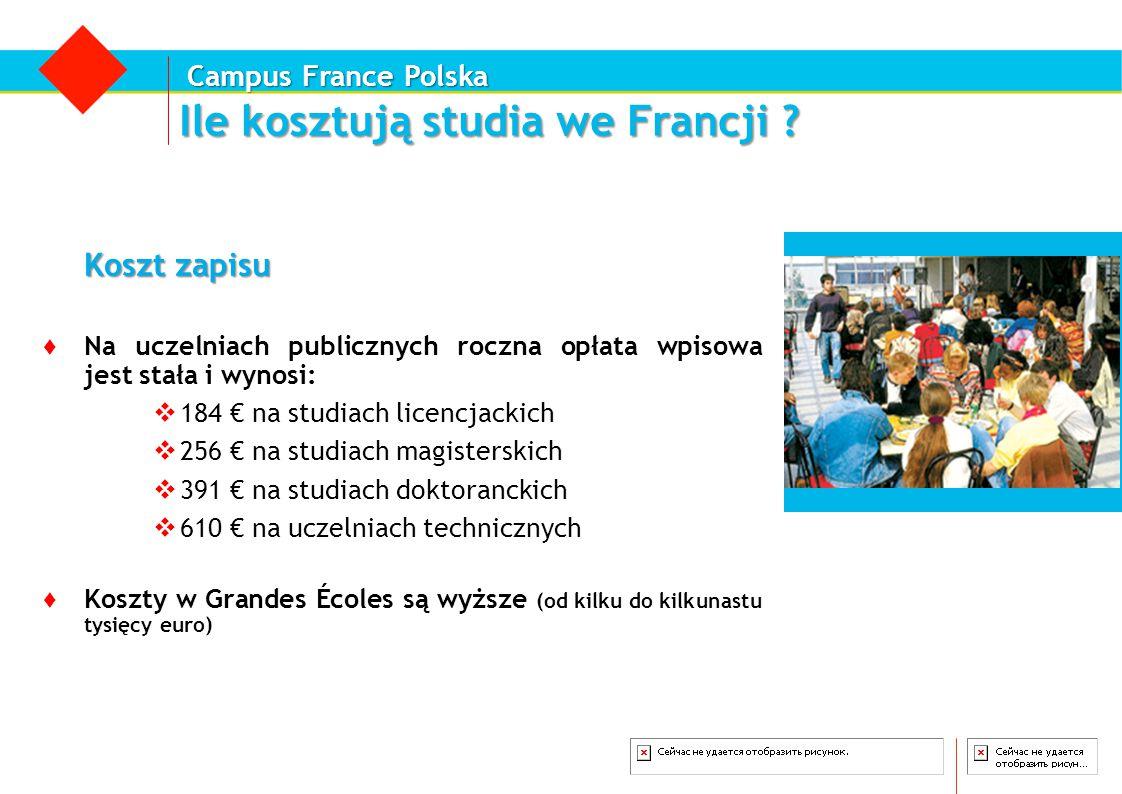 Campus France Polska Ile kosztują studia we Francji ? Koszt zapisu ♦ Na uczelniach publicznych roczna opłata wpisowa jest stała i wynosi:  184 € na s