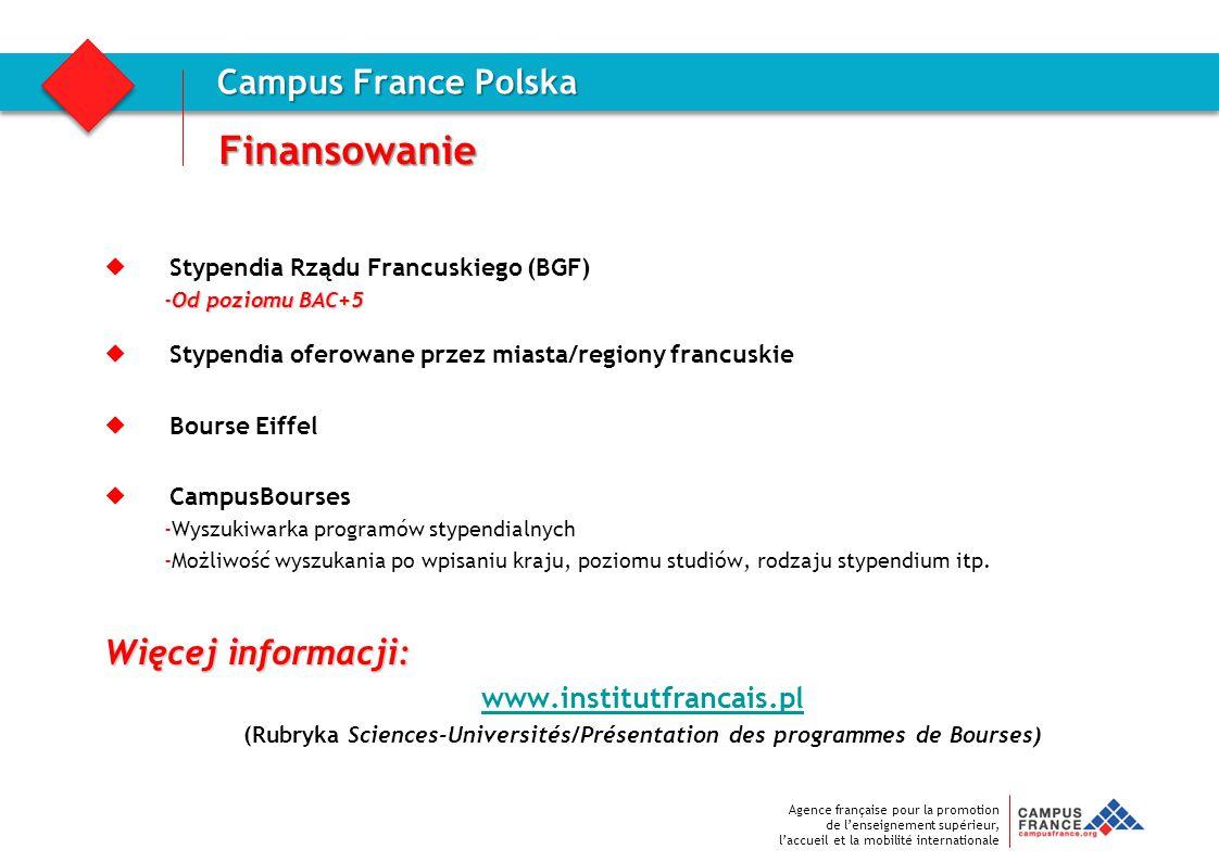 Agence française pour la promotion de l'enseignement supérieur, l'accueil et la mobilité internationale Finansowanie Campus France Polska  Stypendia
