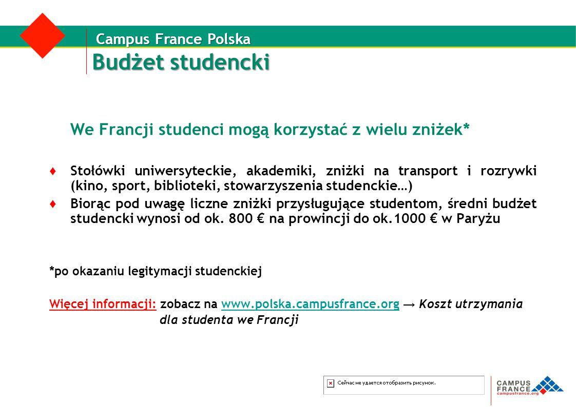 Budżet studencki We Francji studenci mogą korzystać z wielu zniżek* ♦ Stołówki uniwersyteckie, akademiki, zniżki na transport i rozrywki (kino, sport,