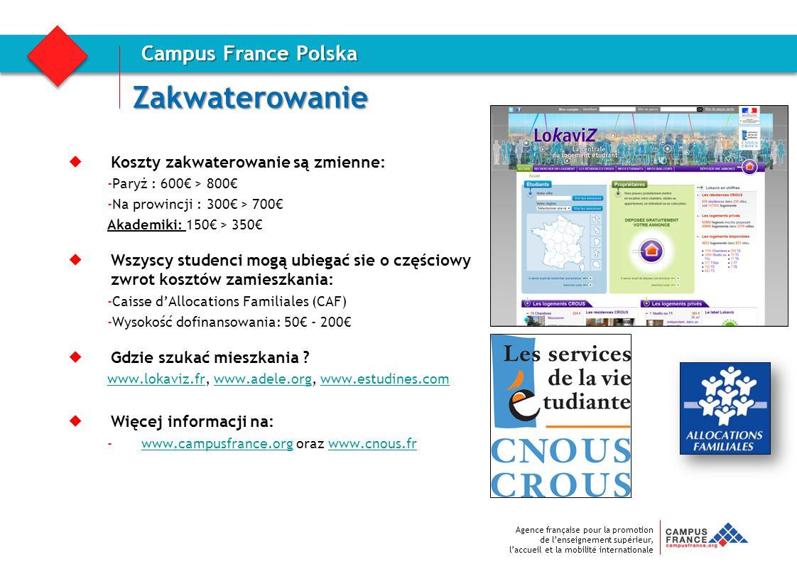 Agence française pour la promotion de l'enseignement supérieur, l'accueil et la mobilité internationale Zakwaterowanie Campus France Polska  Koszty z