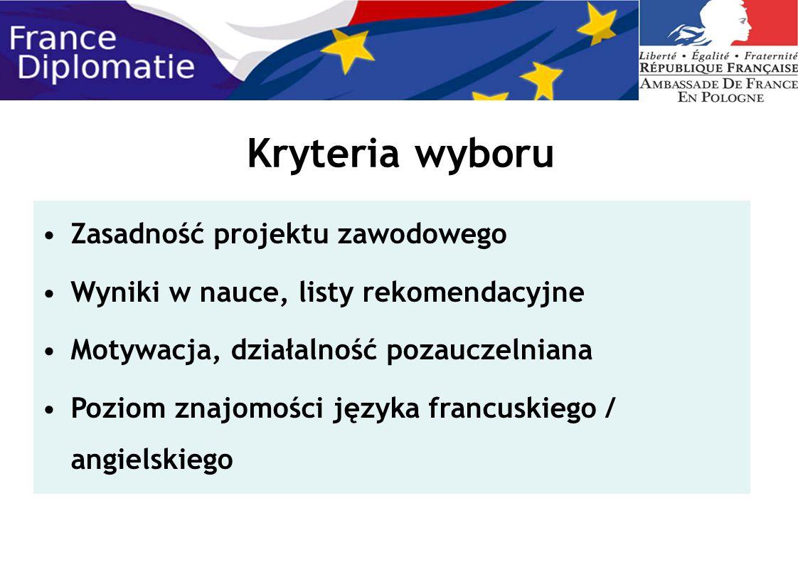 Kryteria wyboru Zasadność projektu zawodowego Wyniki w nauce, listy rekomendacyjne Motywacja, działalność pozauczelniana Poziom znajomości języka fran