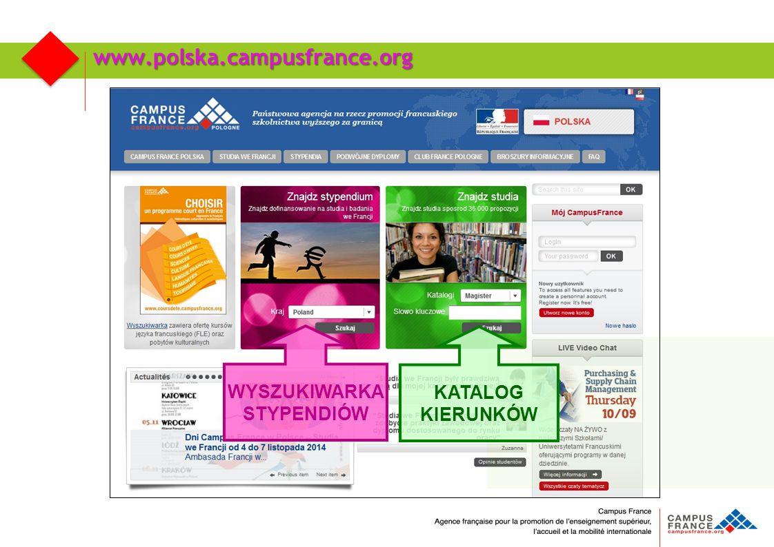 www.polska.campusfrance.org WYSZUKIWARKA STYPENDIÓW KATALOG KIERUNKÓW