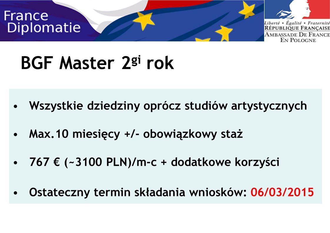 BGF Master 2 gi rok Wszystkie dziedziny oprócz studiów artystycznych Max.10 miesięcy +/- obowiązkowy staż 767 € (~3100 PLN)/m-c + dodatkowe korzyści O