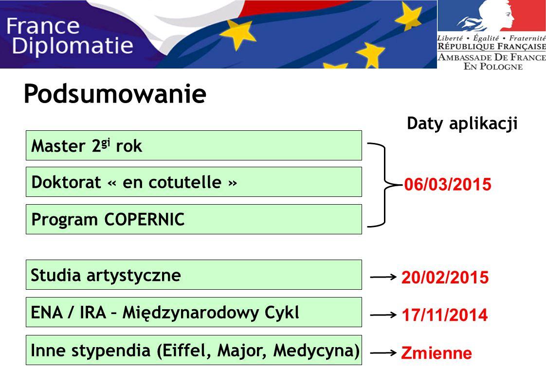 Master 2 gi rok Podsumowanie Program COPERNIC Doktorat « en cotutelle » 06/03/2015 Daty aplikacji Inne stypendia (Eiffel, Major, Medycyna) Zmienne Stu