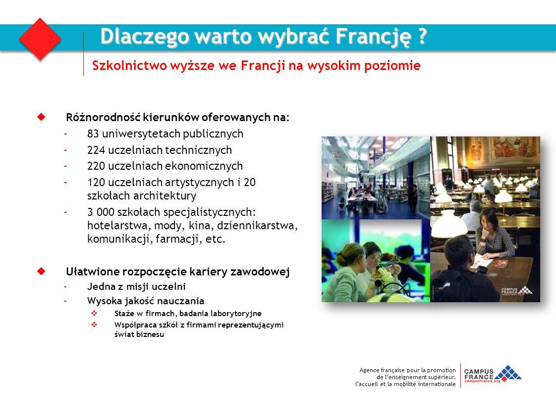 Agence française pour la promotion de l'enseignement supérieur, l'accueil et la mobilité internationale  Różnorodność kierunków oferowanych na: -83 u