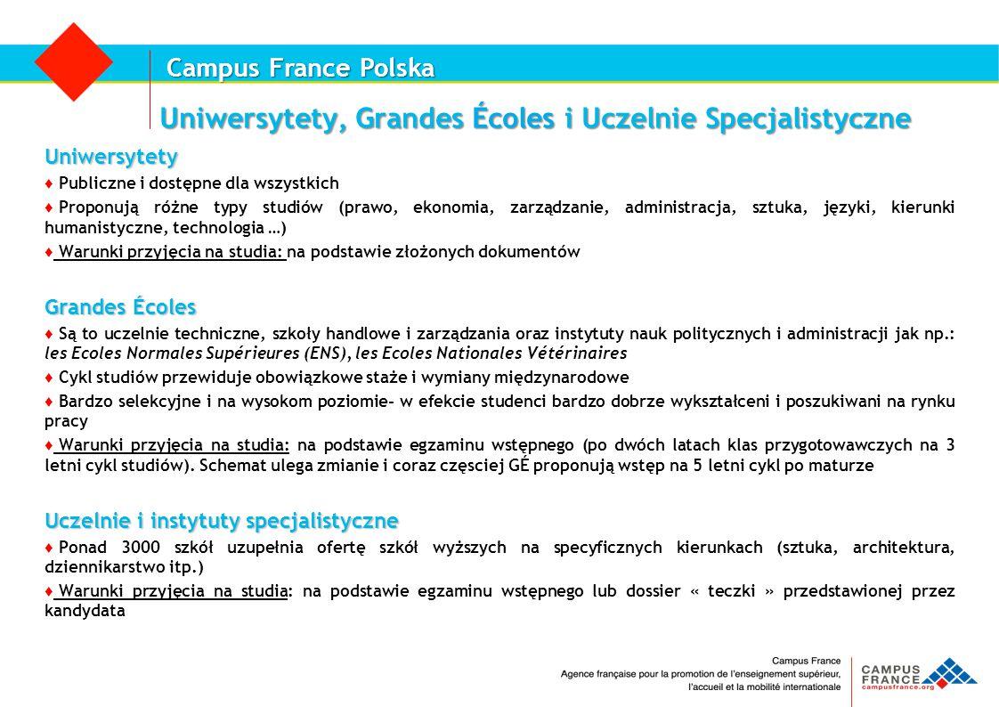 Campus France Polska Uniwersytety, Grandes Écoles i Uczelnie Specjalistyczne Uniwersytety ♦ Publiczne i dostępne dla wszystkich ♦ Proponują różne typy