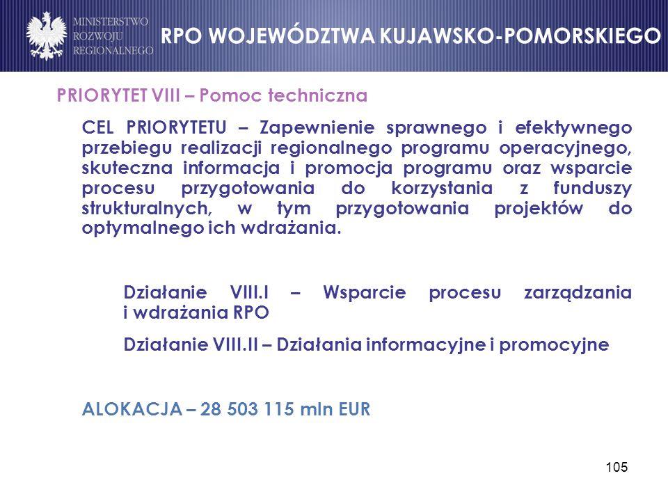 105 PRIORYTET VIII – Pomoc techniczna CEL PRIORYTETU – Zapewnienie sprawnego i efektywnego przebiegu realizacji regionalnego programu operacyjnego, sk