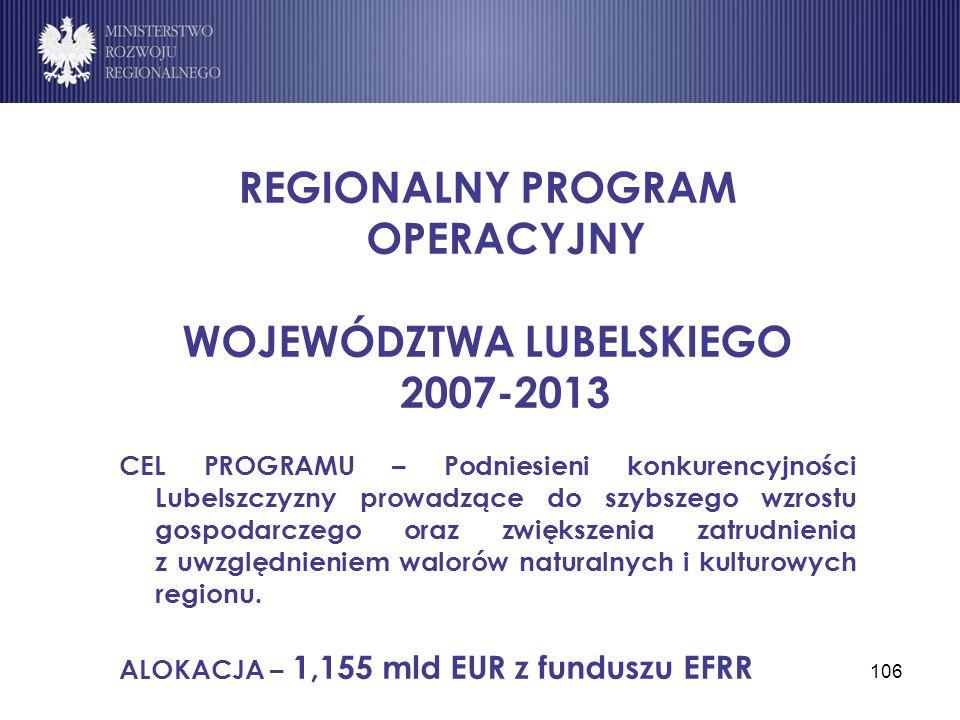 106 REGIONALNY PROGRAM OPERACYJNY WOJEWÓDZTWA LUBELSKIEGO 2007-2013 CEL PROGRAMU – Podniesieni konkurencyjności Lubelszczyzny prowadzące do szybszego