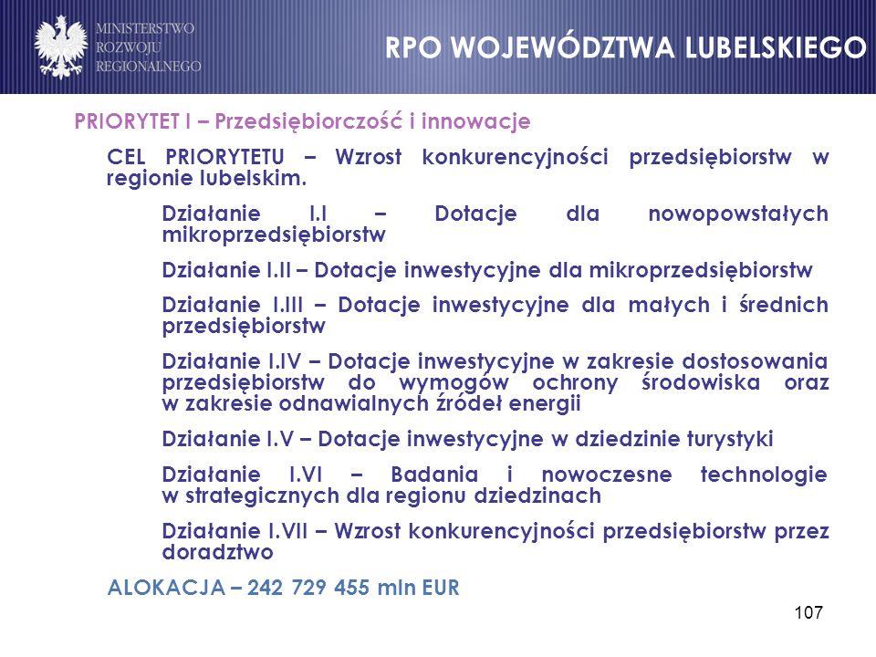 107 PRIORYTET I – Przedsiębiorczość i innowacje CEL PRIORYTETU – Wzrost konkurencyjności przedsiębiorstw w regionie lubelskim. Działanie I.I – Dotacje