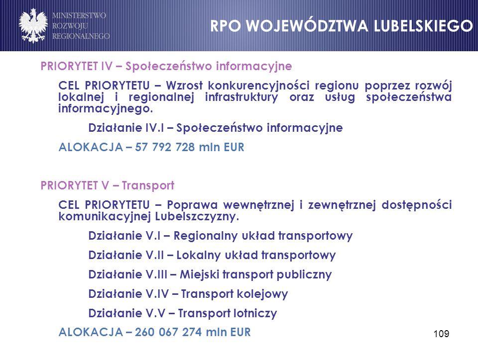 109 PRIORYTET IV – Społeczeństwo informacyjne CEL PRIORYTETU – Wzrost konkurencyjności regionu poprzez rozwój lokalnej i regionalnej infrastruktury or